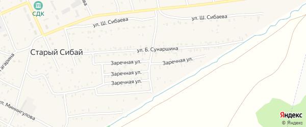Заречная улица на карте села Старого Сибая с номерами домов