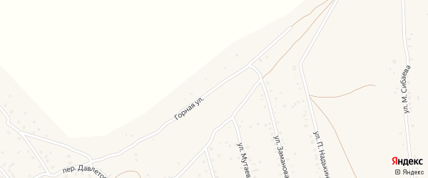 Горная улица на карте села Старого Сибая с номерами домов