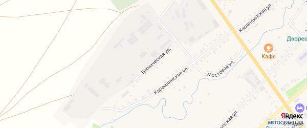 Техническая улица на карте села Верхние Киги с номерами домов