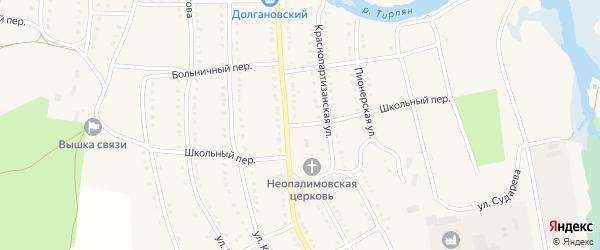 Школьный переулок на карте села Тирлянского с номерами домов
