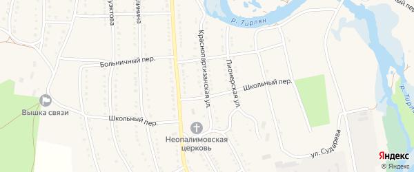 Краснопартизанская улица на карте села Тирлянского с номерами домов