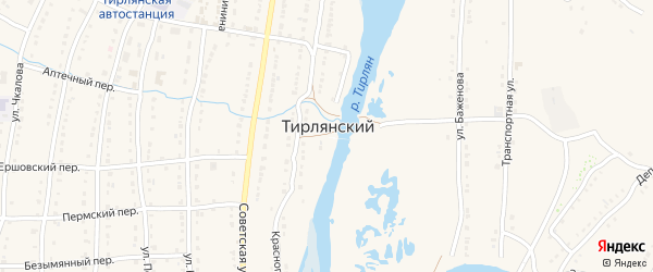 Улица Сударева на карте села Тирлянского с номерами домов