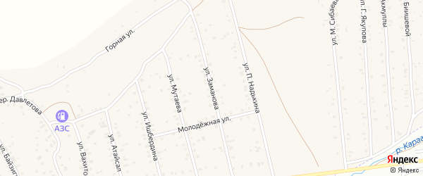 Улица Заманова на карте села Старого Сибая с номерами домов