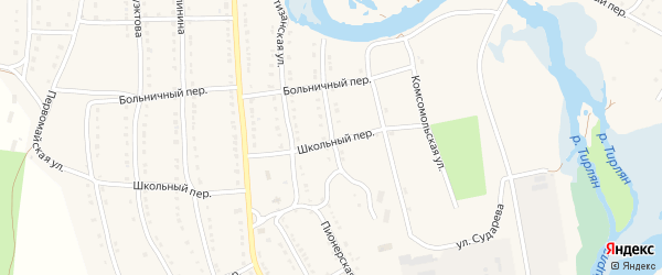 Пионерская улица на карте села Тирлянского с номерами домов