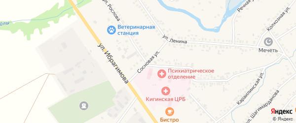 Сосновая улица на карте села Верхние Киги с номерами домов