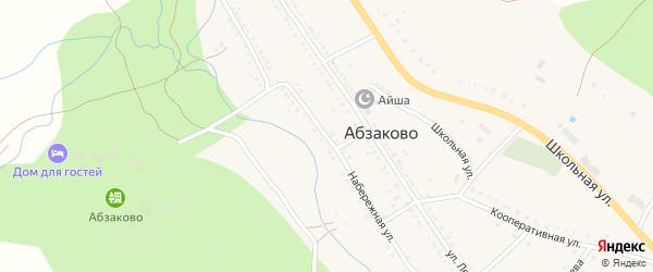 Набережная улица на карте села Абзаково с номерами домов