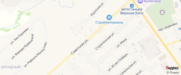 Советская улица на карте села Верхние Киги с номерами домов
