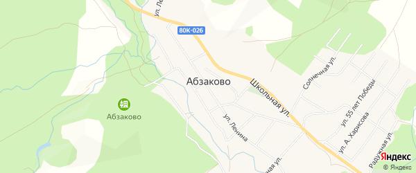 Карта села Абзаково в Башкортостане с улицами и номерами домов