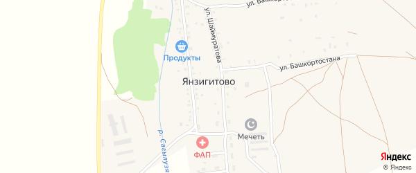 Улица С.Юлаева на карте деревни Янзигитово с номерами домов