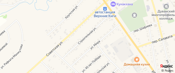Строительная улица на карте села Верхние Киги с номерами домов
