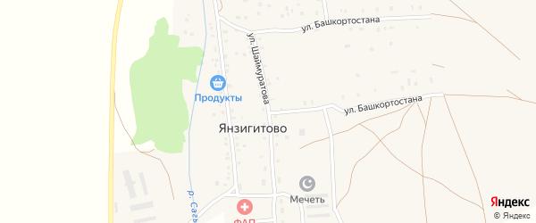 Улица Шаймуратова на карте деревни Янзигитово с номерами домов