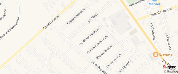 Улица 40 лет Победы на карте села Верхние Киги с номерами домов