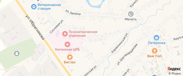 Улица Мажита Гафури на карте села Верхние Киги с номерами домов