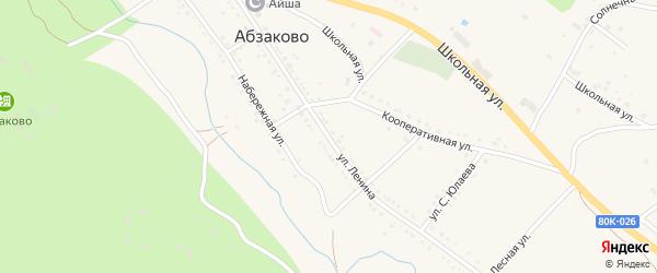 Улица Ленина на карте села Абзаково с номерами домов