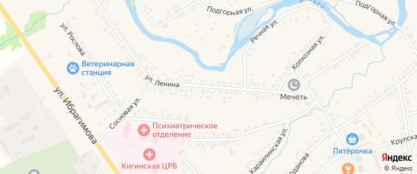 Улица Ленина на карте села Верхние Киги с номерами домов