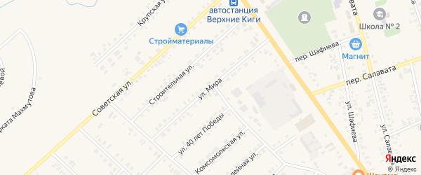 Улица Мира на карте села Верхние Киги с номерами домов