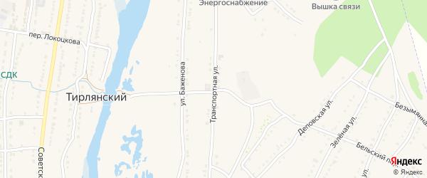 Транспортная улица на карте села Тирлянского с номерами домов