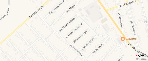 Комсомольская улица на карте села Верхние Киги с номерами домов