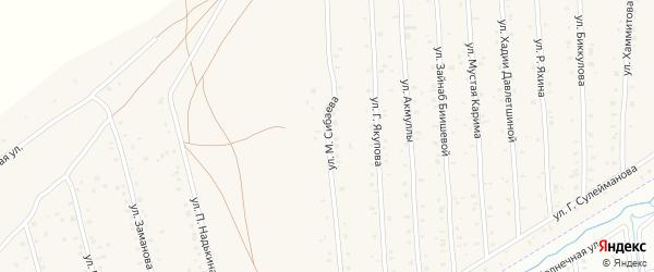 Улица М.Сибаева на карте села Старого Сибая с номерами домов