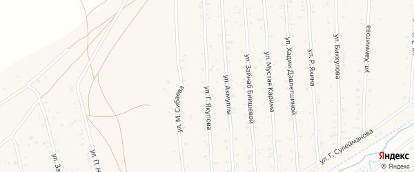 Улица Г.Якупова на карте села Старого Сибая с номерами домов