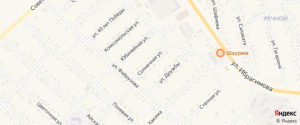 Солнечная улица на карте села Верхние Киги с номерами домов