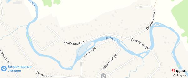 Подгорная улица на карте села Верхние Киги с номерами домов
