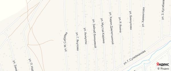 Улица Акмуллы на карте села Старого Сибая с номерами домов