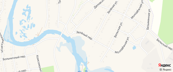 Зеленый переулок на карте села Тирлянского с номерами домов