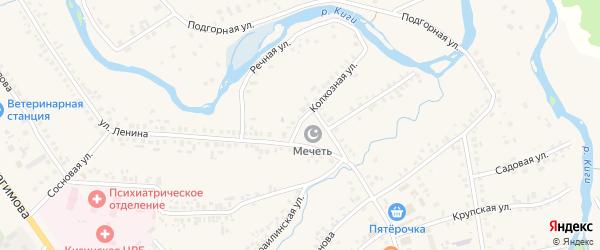 Колхозная улица на карте села Верхние Киги с номерами домов