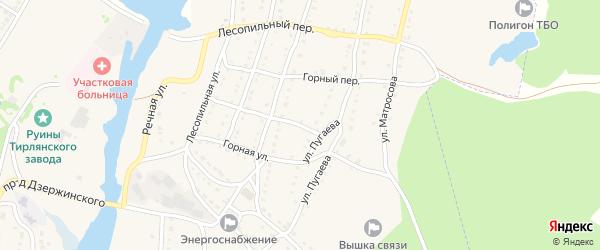 Комсомольский переулок на карте села Тирлянского с номерами домов