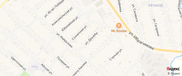 Улица Дружбы на карте села Верхние Киги с номерами домов