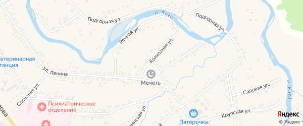 Речная улица на карте села Верхние Киги с номерами домов