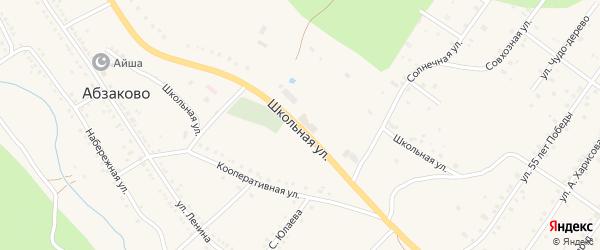 Школьная улица на карте села Абзаково с номерами домов