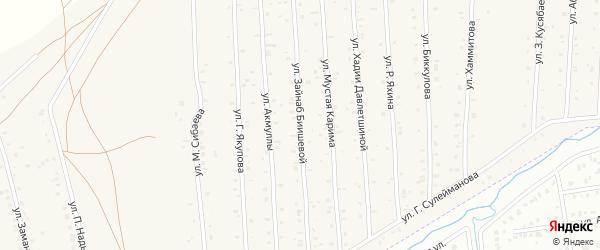 Улица З.Биишевой на карте села Старого Сибая с номерами домов