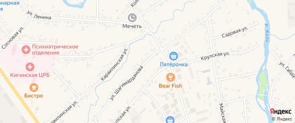Улица Шагимарданова на карте села Верхние Киги с номерами домов