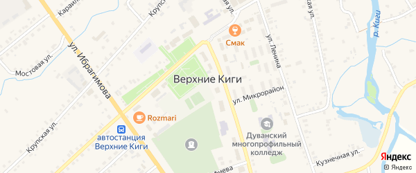 Крупская улица на карте села Верхние Киги с номерами домов