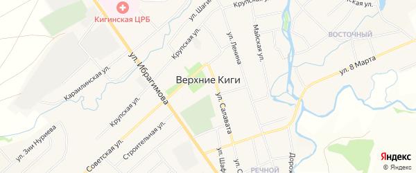 Карта села Верхние Киги в Башкортостане с улицами и номерами домов