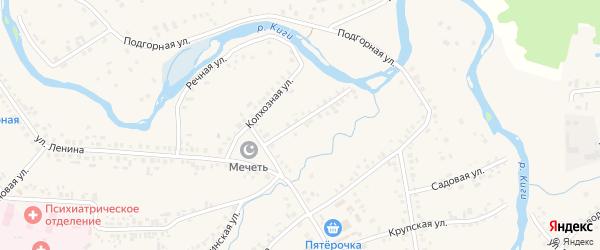 Красноармейская улица на карте села Верхние Киги с номерами домов