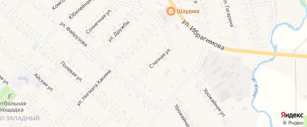 Степная улица на карте села Верхние Киги с номерами домов