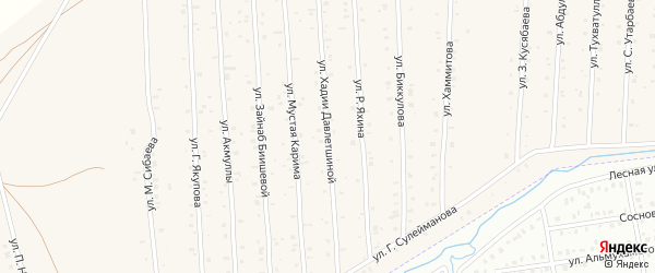 Улица Х.Давлетшиной на карте села Старого Сибая с номерами домов