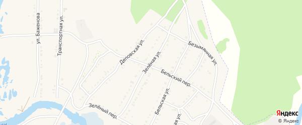 Зеленая улица на карте села Тирлянского с номерами домов