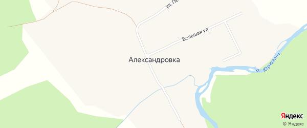 Большая улица на карте поселка Александровки с номерами домов