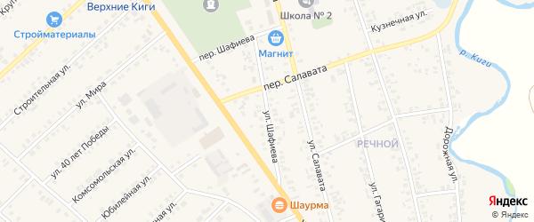 Улица Шафиева на карте села Верхние Киги с номерами домов