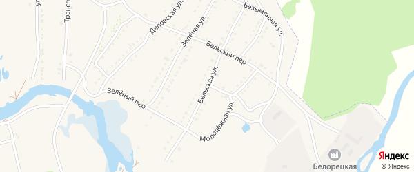Бельская улица на карте села Тирлянского с номерами домов