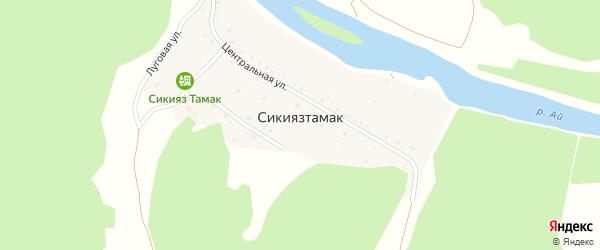 Лесная улица на карте деревни Сикиязтамака с номерами домов
