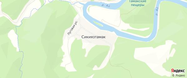 Карта деревни Сикиязтамака в Челябинской области с улицами и номерами домов