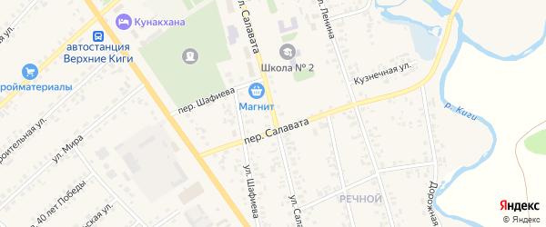 Улица Салавата на карте села Верхние Киги с номерами домов
