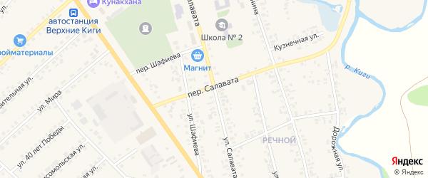 Переулок Салавата на карте села Верхние Киги с номерами домов