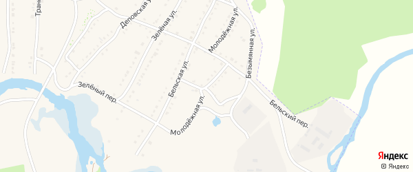 Молодежная улица на карте села Тирлянского с номерами домов