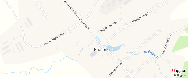 Улица Бурхана Шарафутдинова на карте села Еланлино с номерами домов